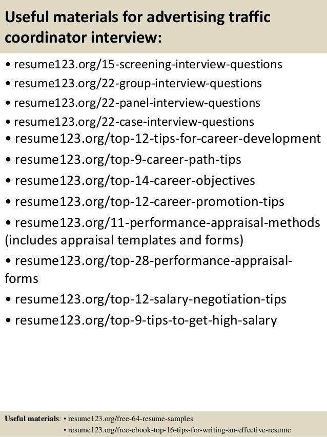 top 8 advertising traffic coordinator resume samples
