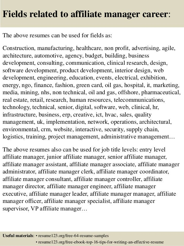 16 fields related to affiliate manager - Affiliate Manager Resume