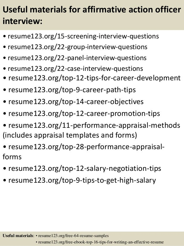 Top 8 affirmative action officer resume samples