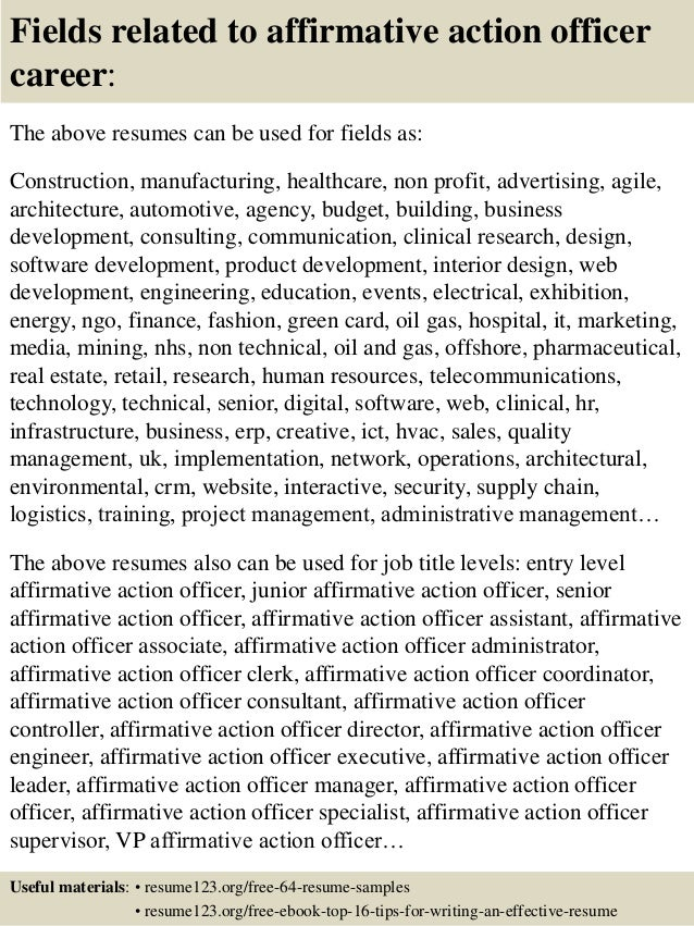 Top  Affirmative Action Officer Resume Samples