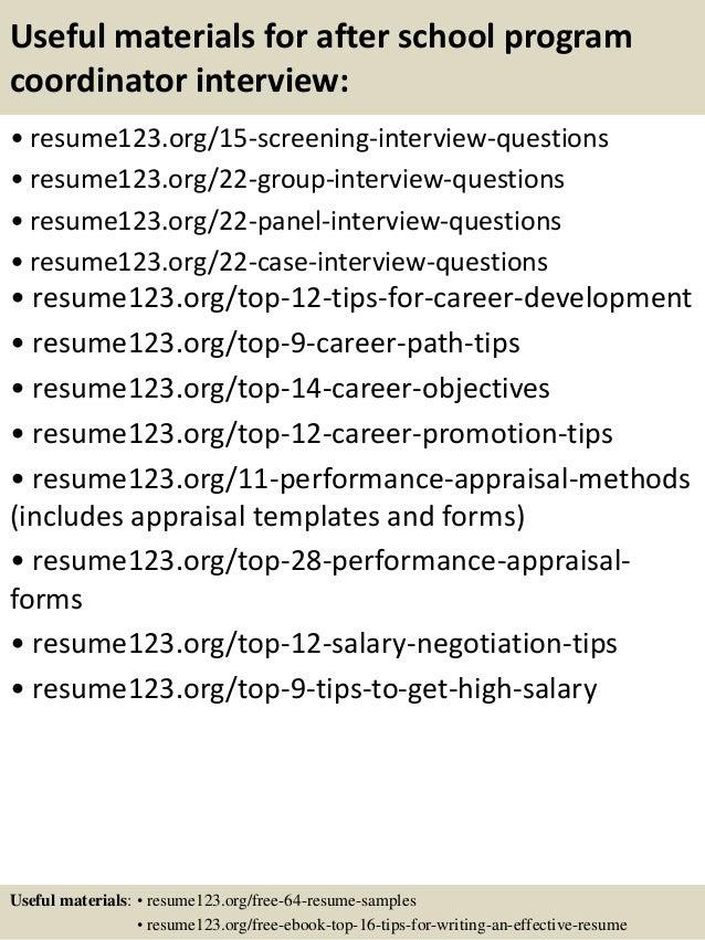 Resume For After Program | Top 8 After School Program Coordinator Resume Samples