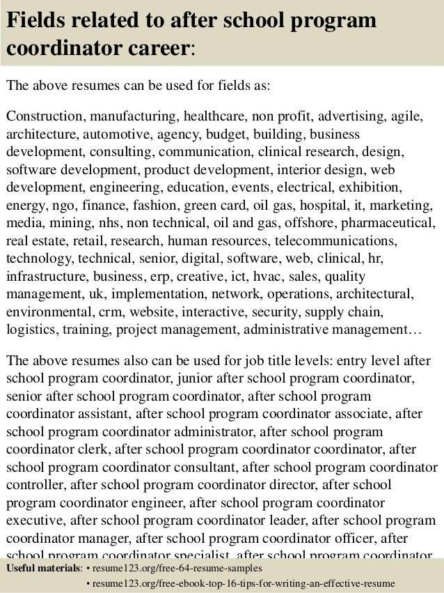 Top 8 after school program coordinator resume samples