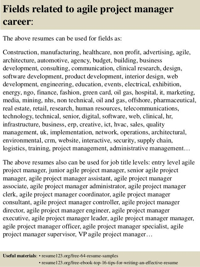 Top  Agile Project Manager Resume Samples