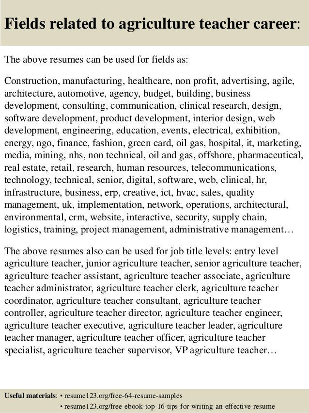 Top 8 agriculture teacher resume samples – Agriculture Resume Template