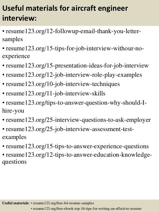 14 useful materials for aircraft engineer - Aircraft Performance Engineer Sample Resume
