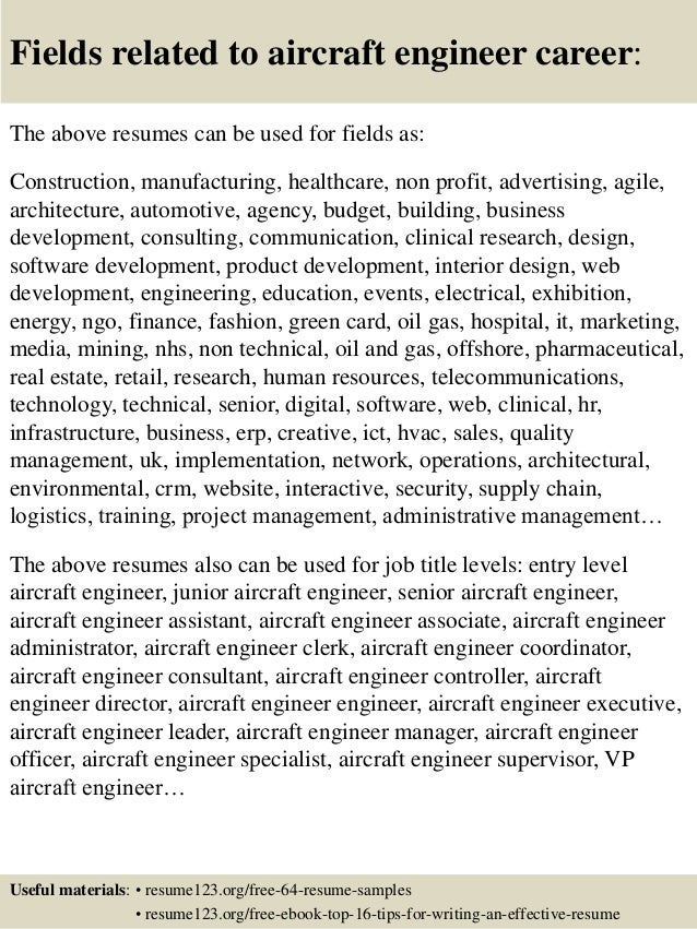 16 fields related to aircraft engineer - Aircraft Performance Engineer Sample Resume
