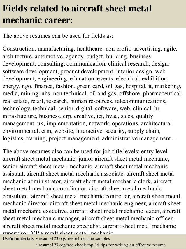 Top Aircraft Sheet Metal Mechanic Resume Samples - Mechanic resume