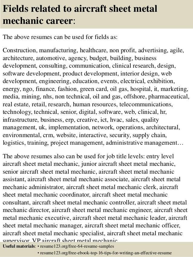 aircraft mechanic helper resume - Aircraft Mechanic Resume