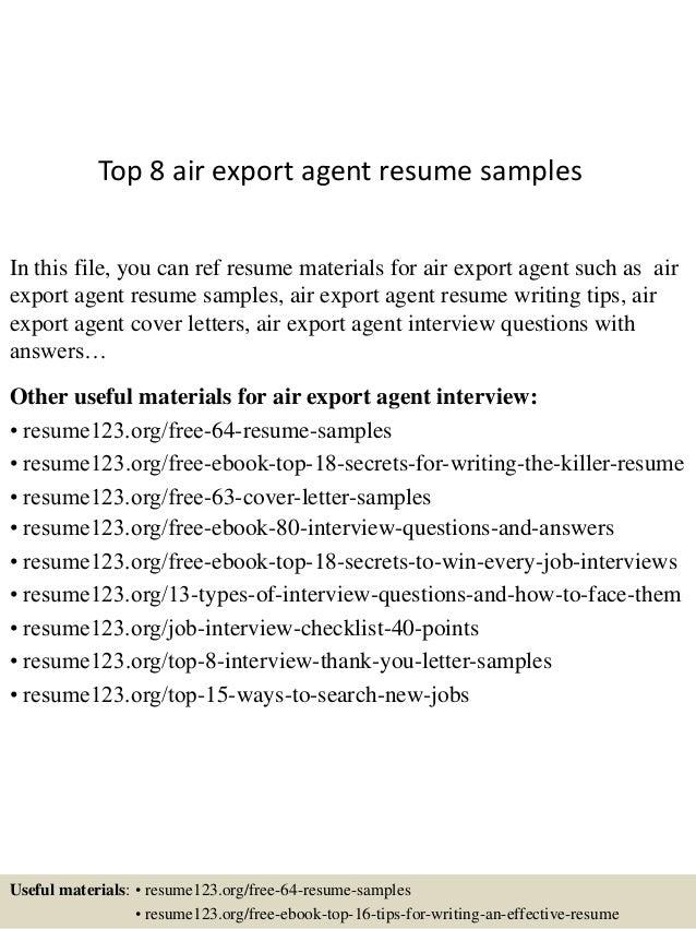 Top 8 air export agent resume samples