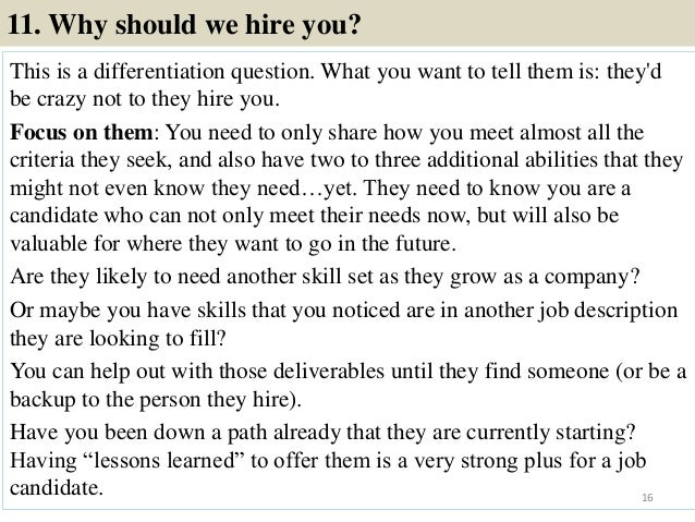 16. 11. Why Should We Hire You?