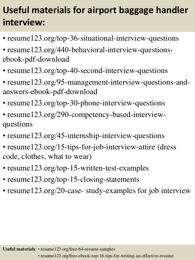 top 8 airport baggage handler resume samples
