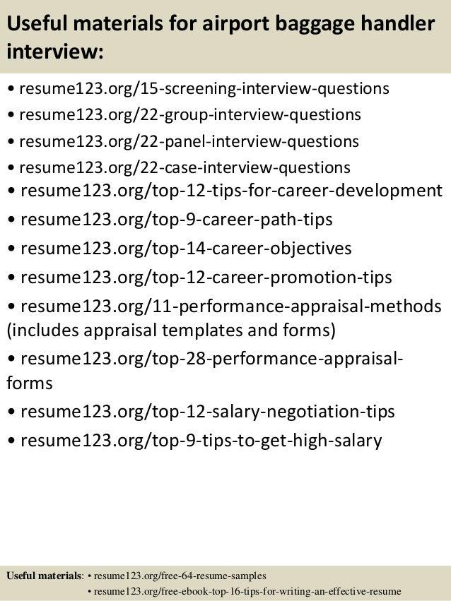 top 8 airport baggage handler resume sles