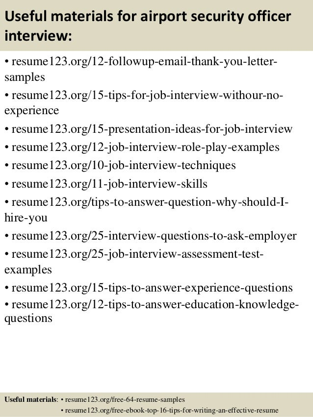 Top 8 Airport Security Officer Resume Samples