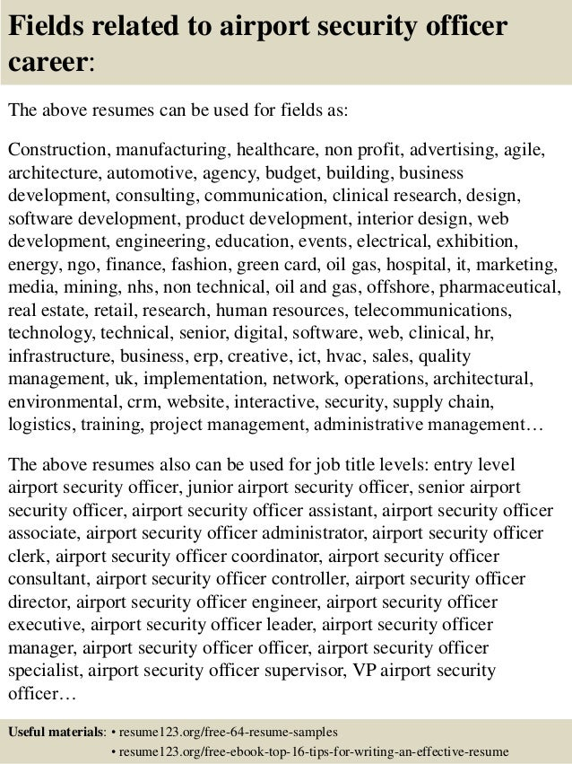 16 fields related to airport security officer career the above resumes