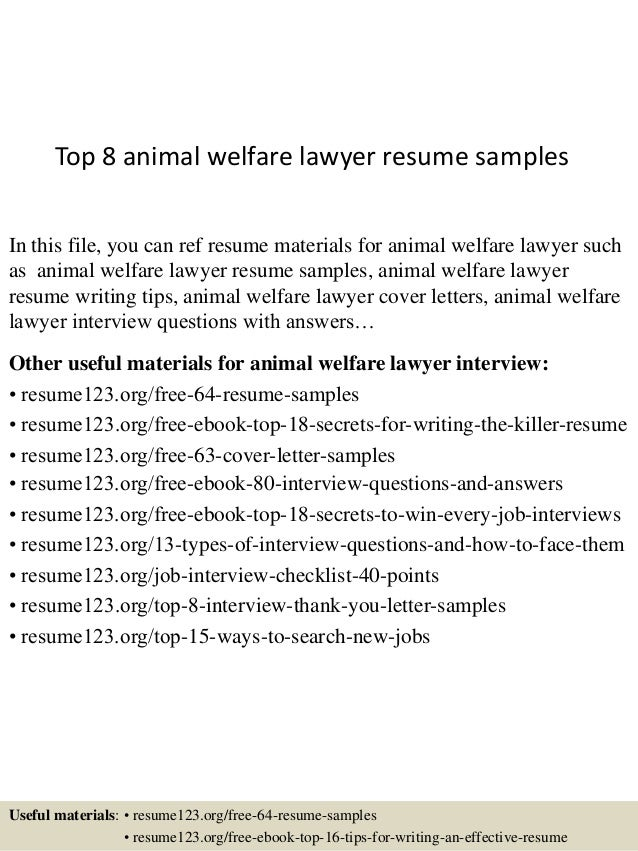 top 8 animal welfare lawyer resume samples in this file you can ref resume materials - Animal Welfare Officer Sample Resume