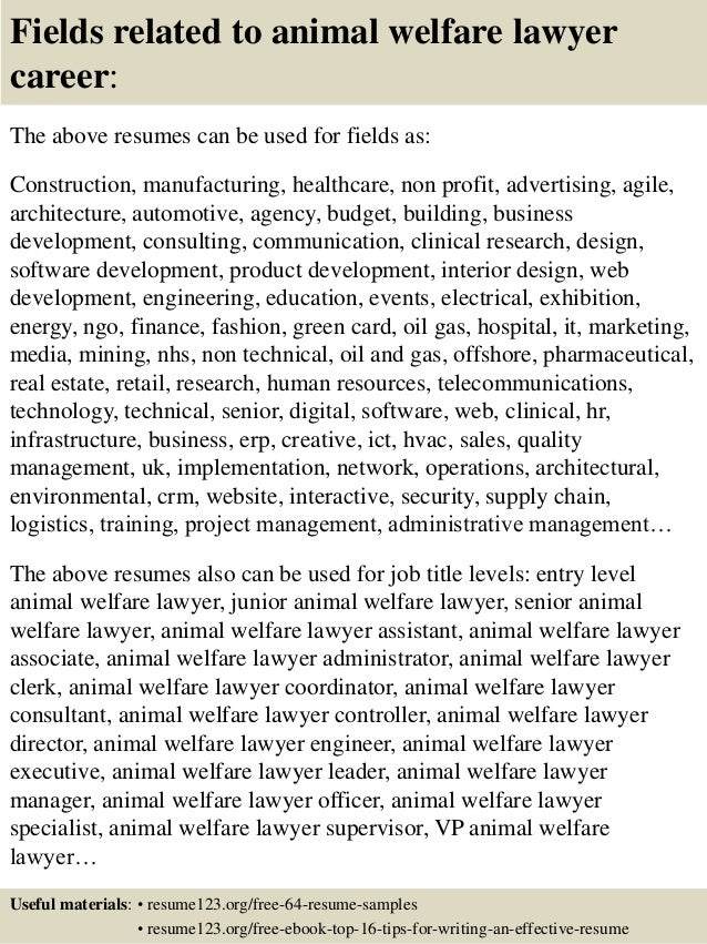 16 fields related to animal welfare - Animal Welfare Officer Sample Resume
