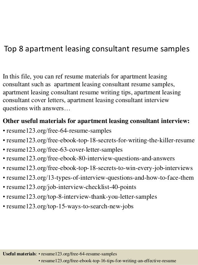Top 8 Apartment Leasing Consultant Resume Samples In This File, You Can Ref  Resume Materials ...  Resume For Leasing Consultant
