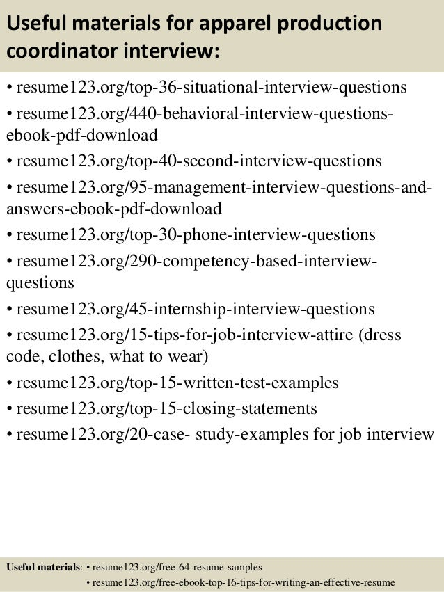 top 8 apparel production coordinator resume samples