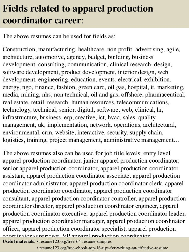 ... 16. Fields Related To Apparel Production Coordinator Career: The Above  Resumes ...