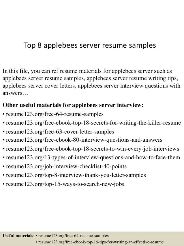 Top 8 Applebees Server Resume Samples In This File You Can Ref Materials For
