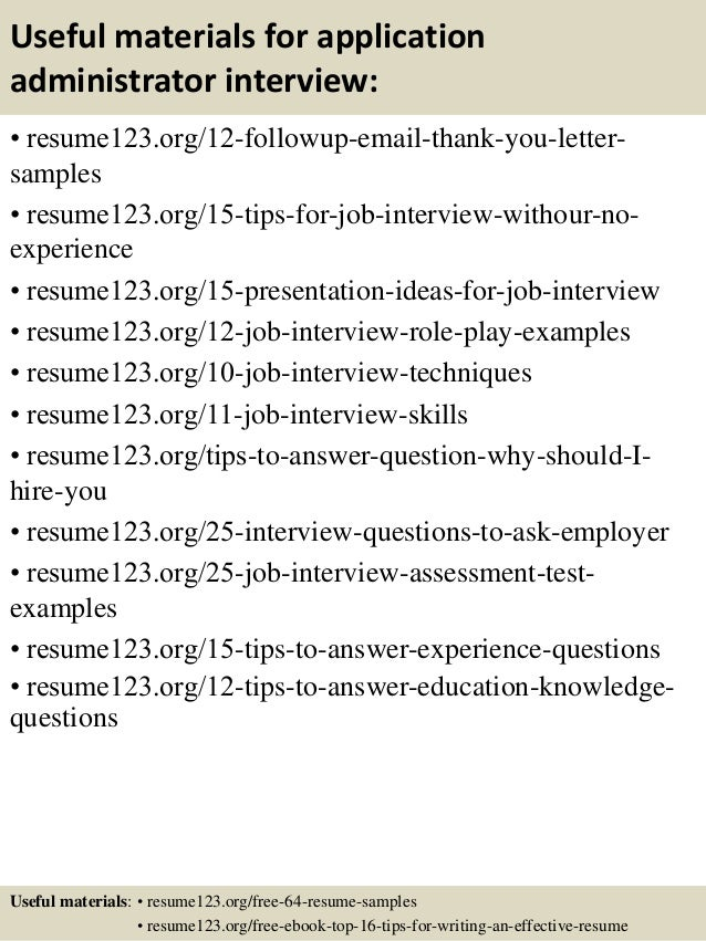 top 8 application administrator resume samples