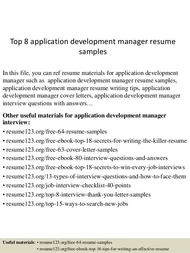 Top 8 Application Development Manager Resume Samples In This File You Can Ref Materials
