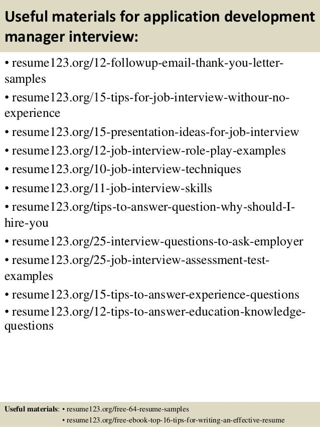 Top 8 application development manager resume samples