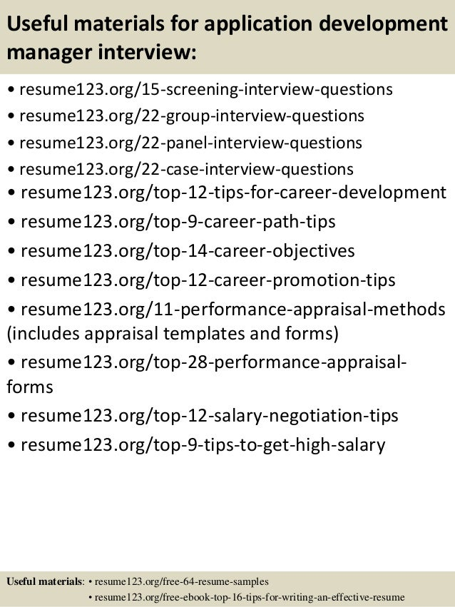 Application Development Manager Resume. building operations ...