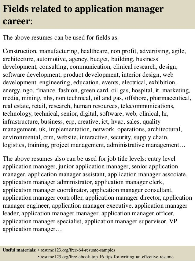 Resume Applications Manager. application manager resume sales ...