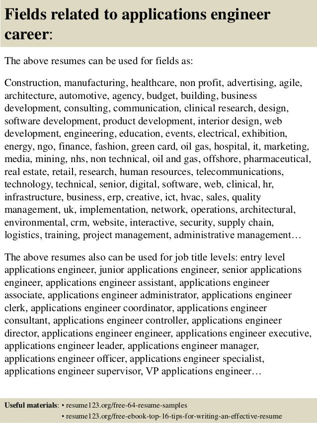 fields related to applications engineer - Field Application Engineer Sample Resume