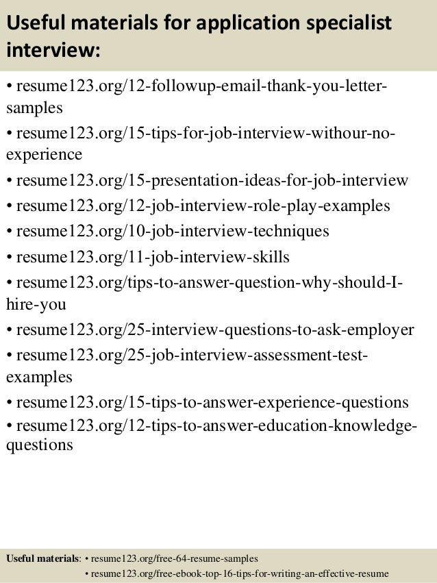 14 useful materials for application specialist - Application Specialist Sample Resume