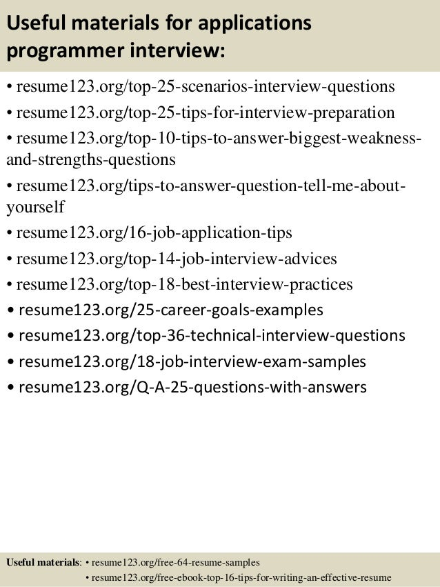 applications programmer resume