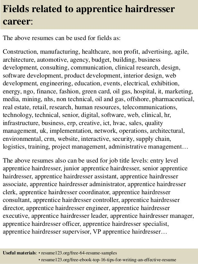16 fields related to apprentice hairdresser