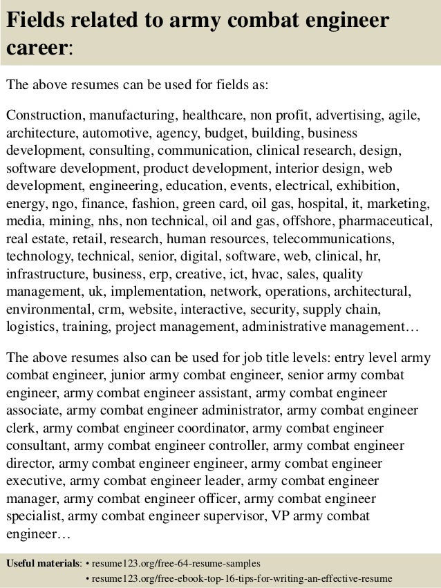 16 fields related to army - Army Resume