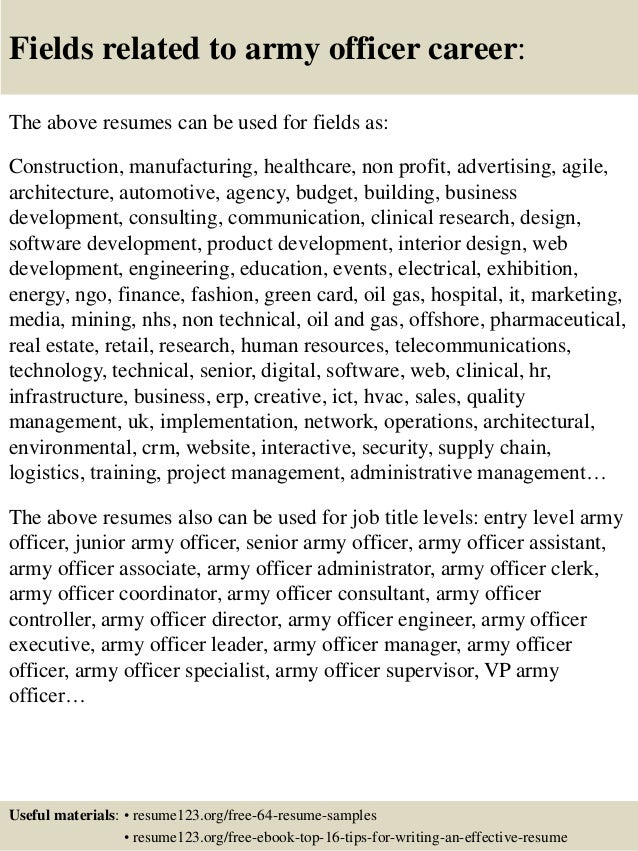 top 8 army officer resume samples