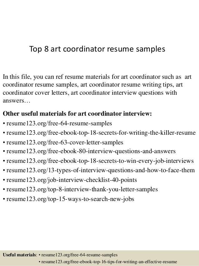 Top 8 art coordinator resume samples