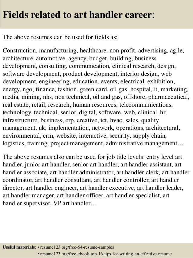 Examples Of Cover Letters For Art Handlers. Top 8 Art Handler Resume  Samples . Examples Of Cover Letters For Art Handlers
