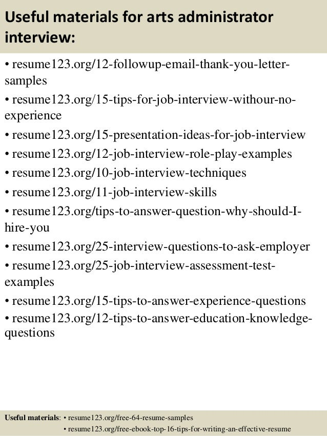 14 useful materials for arts administrator - Arts Administration Sample Resume