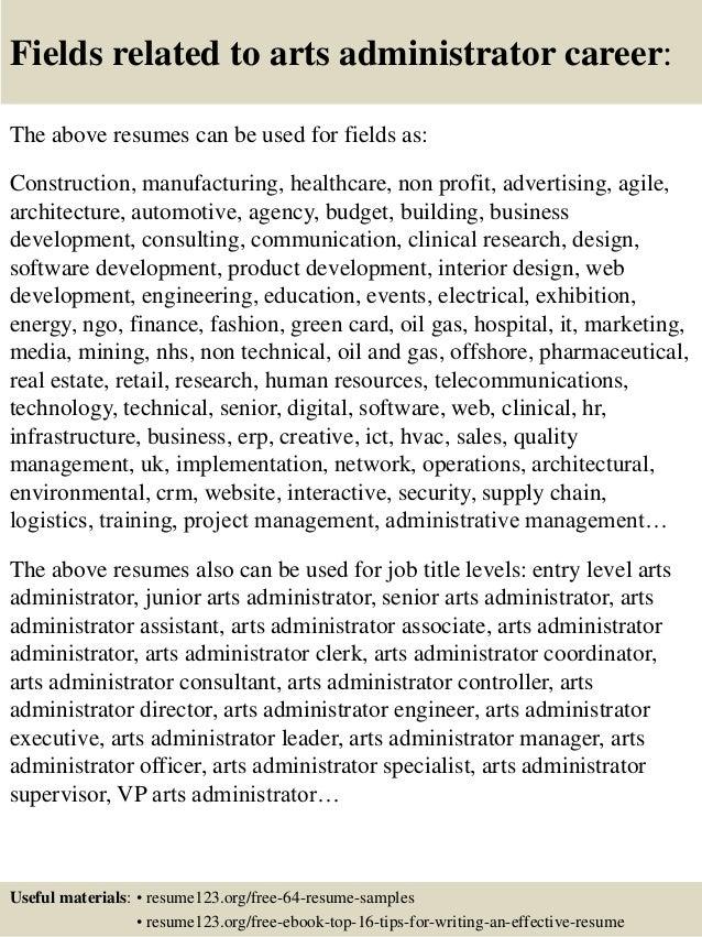 Top 8 arts administrator resume samples