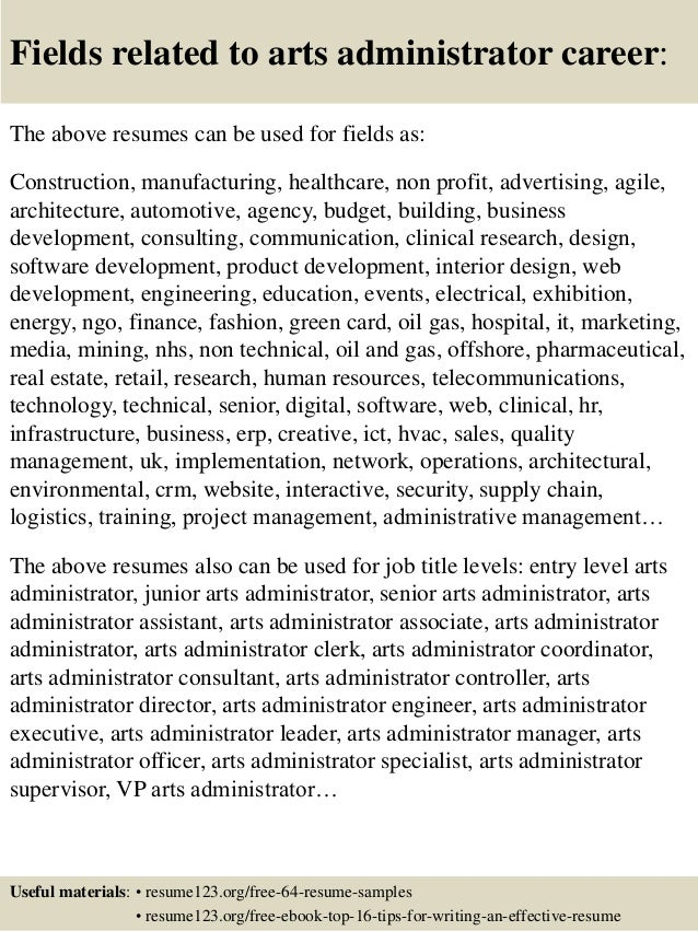 16 fields related to arts administrator - Arts Administration Sample Resume