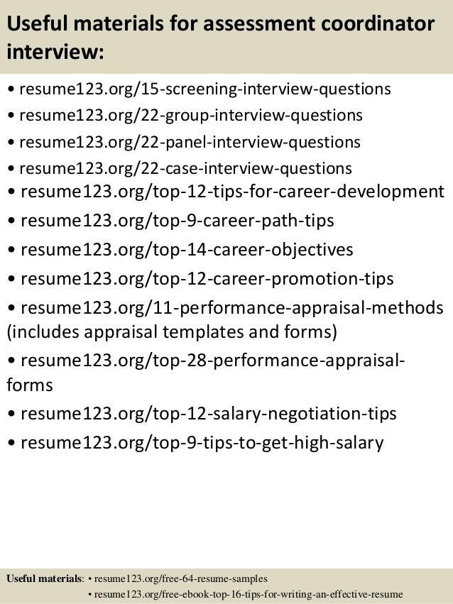 Top 8 assessment coordinator resume samples – Sample Career Assessment