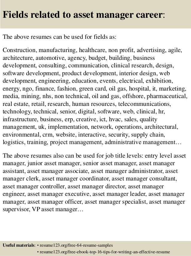 Top 8 Asset Manager Resume Samples