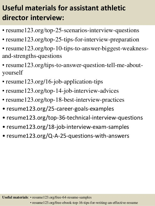 top 8 assistant athletic director resume sles