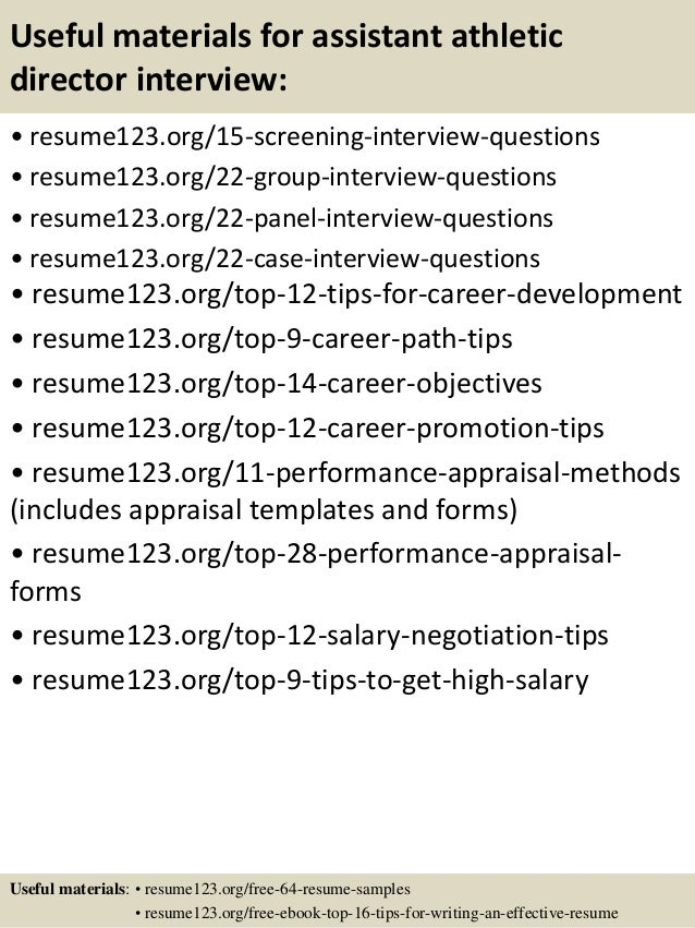 Top 8 assistant athletic director resume samples