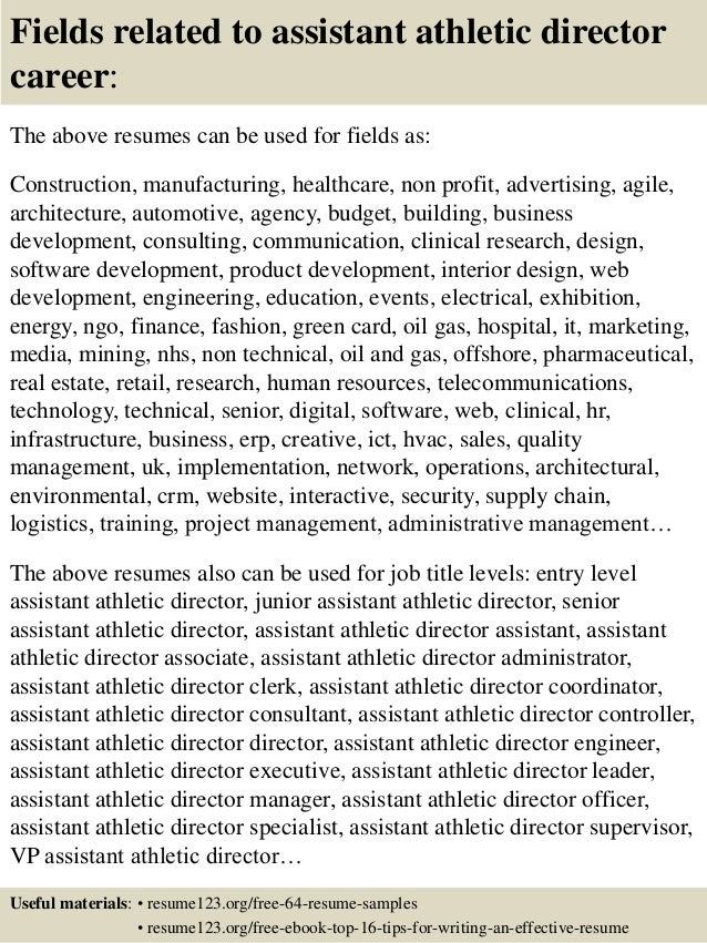 16 fields related to assistant athletic director