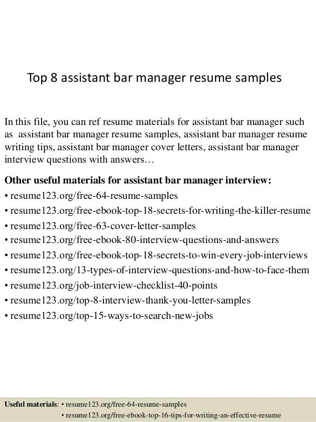 Top 8 Assistant Bar Manager Resume Samples
