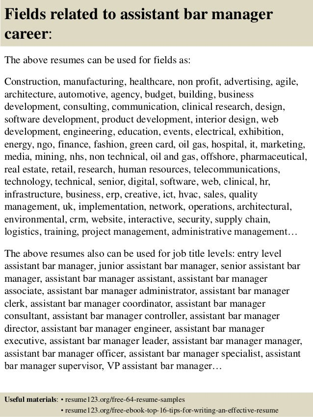 top 8 assistant bar manager resume samples