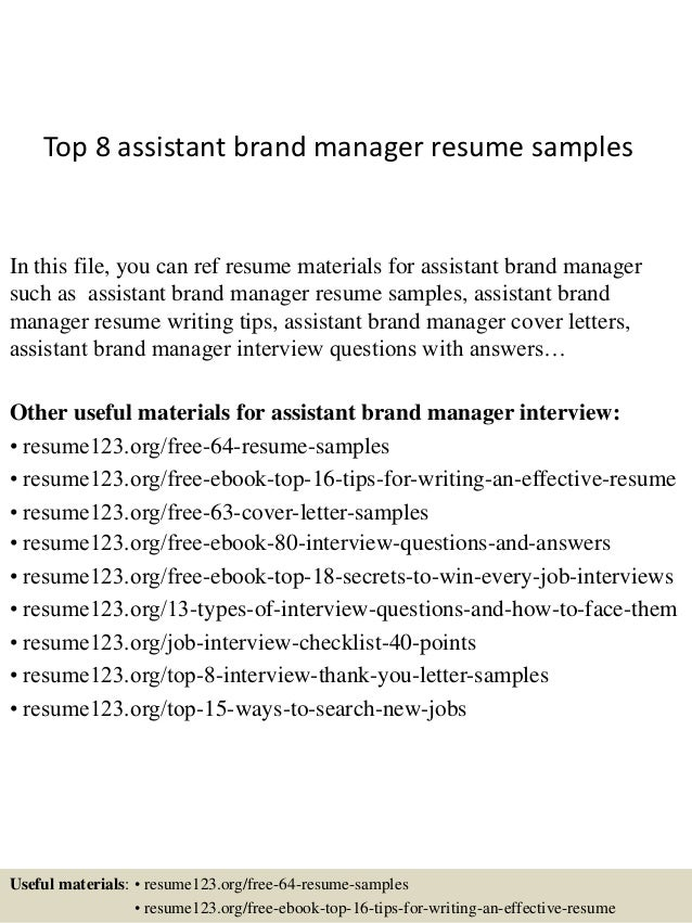 top 8 assistant brand manager resume samples in this file you can ref resume materials - Assistant Manager Resume Format