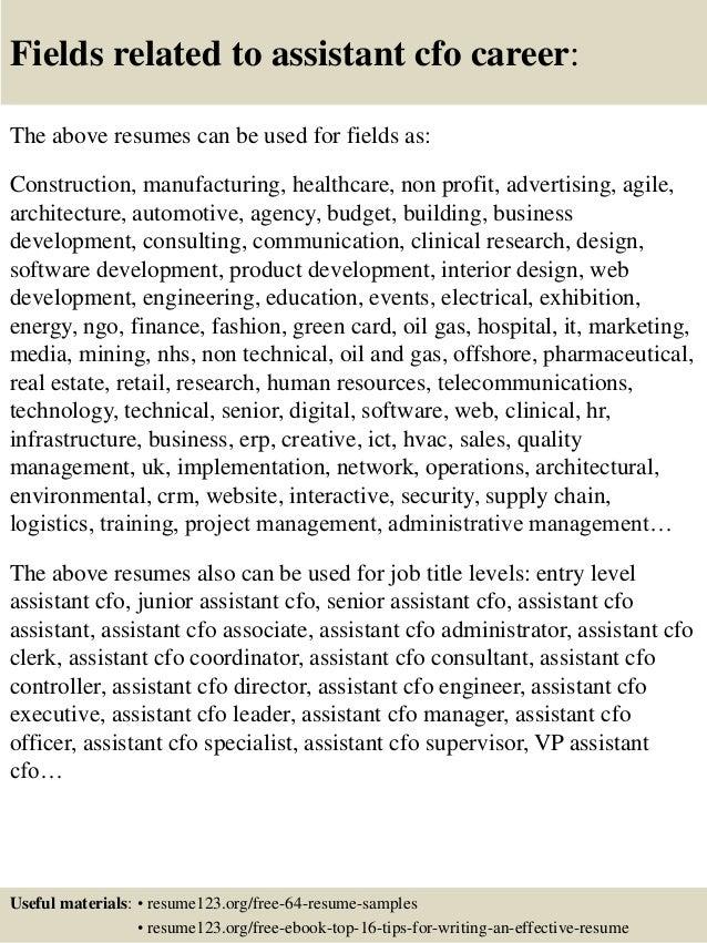 top 8 assistant cfo resume samples
