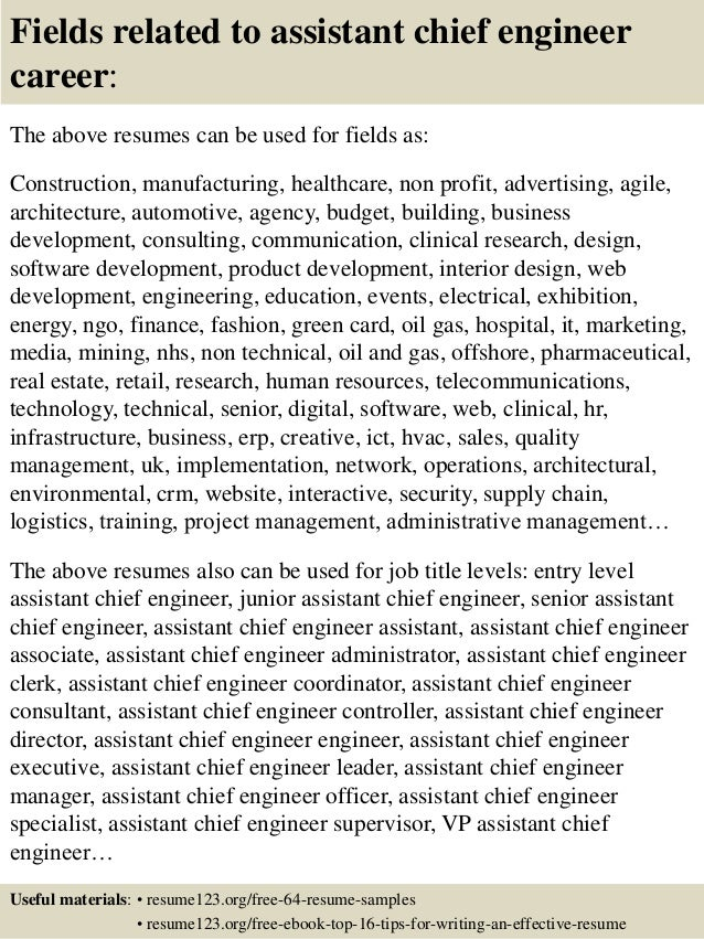 Top 8 assistant chief engineer resume samples